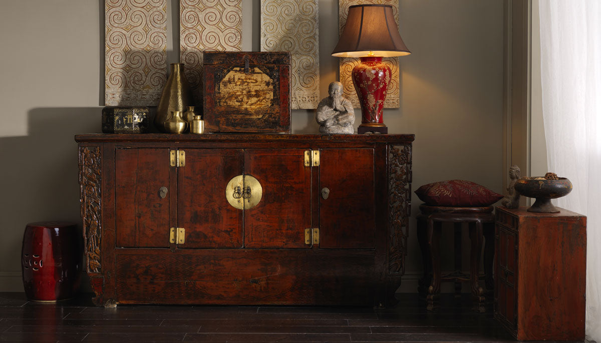 Chinese Antique Sideboard in Red Lacquer