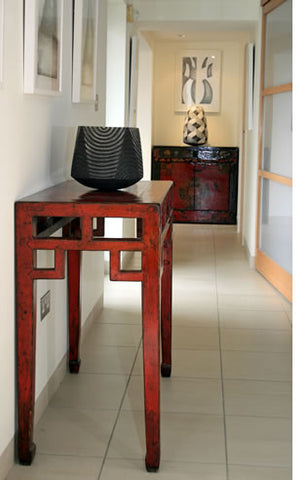 Red Lacquer Console