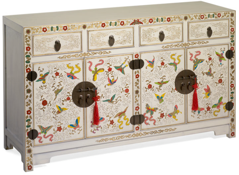 Cream lacquer painted sideboard