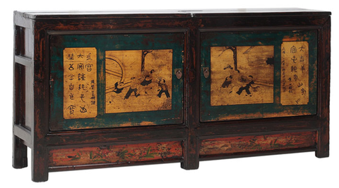 Painted Chinese antique sideboard, Gansu