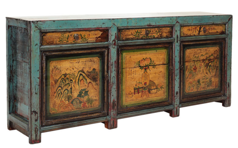 Chinese painted antique sideboard