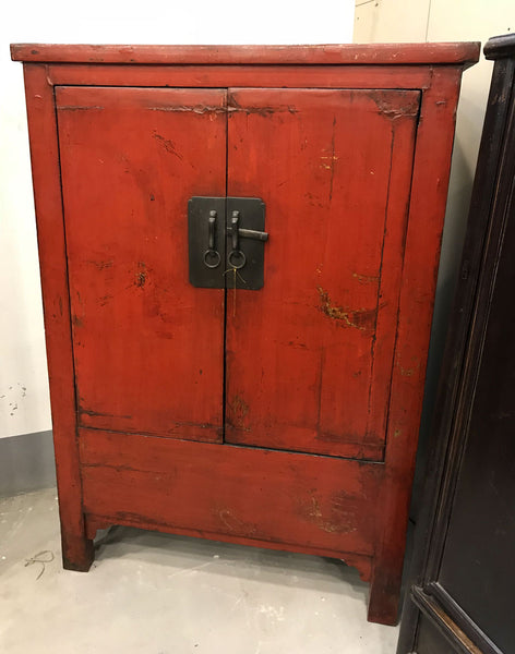 Red Lacquer Antique Chinese Cabinet
