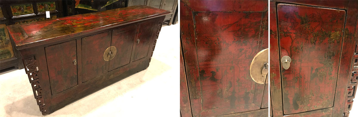 Shanxi Red Lacquer Antique Sideboard