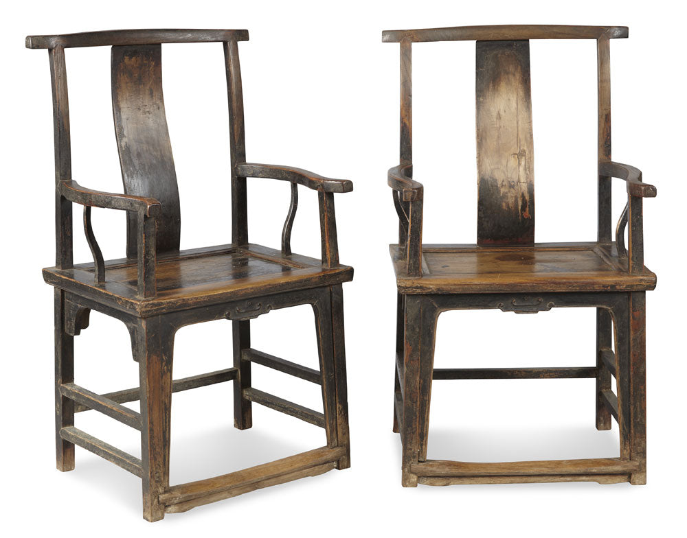 Chinese Yoke-Back Chairs in Walnut, Shanxi circa 1850