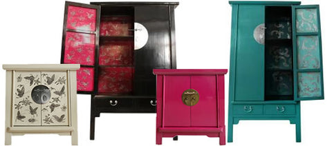 Lacquered Chinese Cabinets