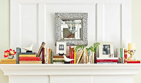 books on mantlepiece