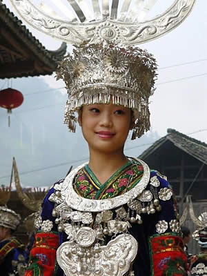 Miao girl in traditional dress