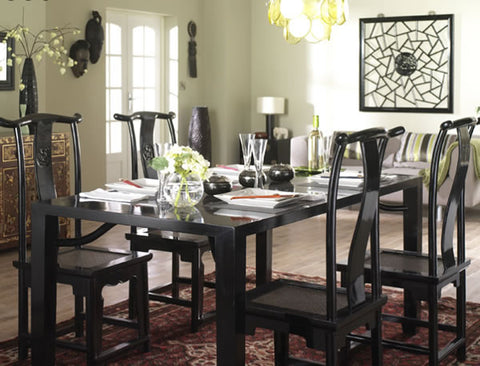 Black lacquer oriental dining table