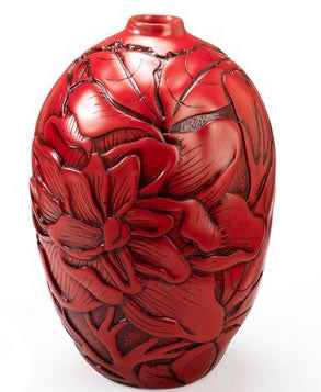 Red Chinese Peony Vase