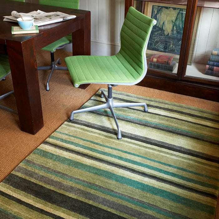 Regatta Wool Rug, Green Stripes
