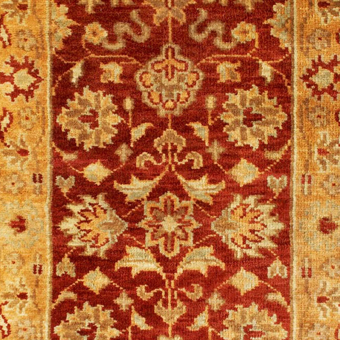 Taj Agra Wool Rug, Gold and Red Floral