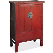 Red Lacquer Mid Armoire with Butterflies