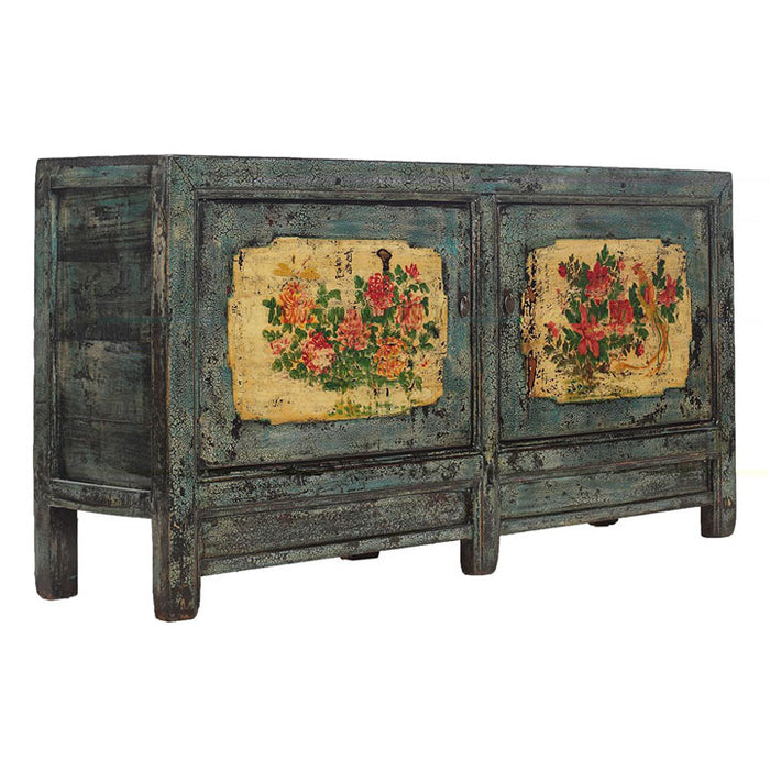 Blue and Cream Sideboard, Floral Paintings
