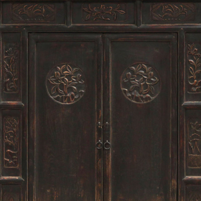 Tall Chinese Cabinet with Carved Doors