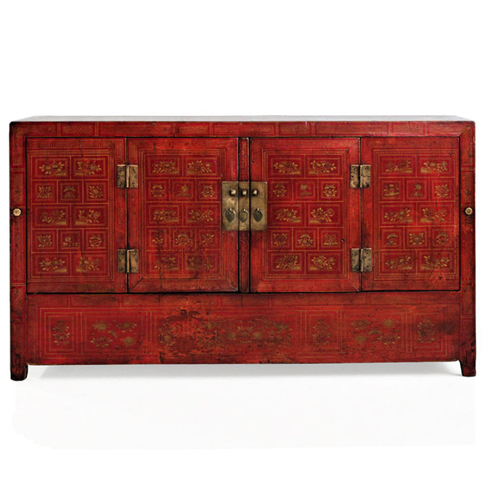 Chinese Antique Dongbei Red Painted Sideboard