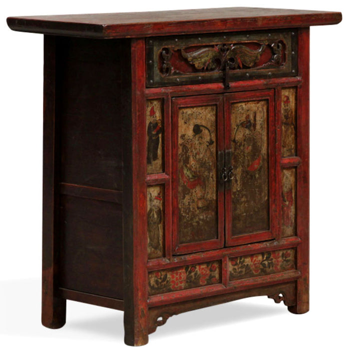 Shaanxi Red Lacquer Painted Carved Cabinet