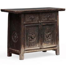 Carved Chinese Tapered Cabinet