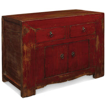 Cinnabar Red Side Cabinet, Chinese