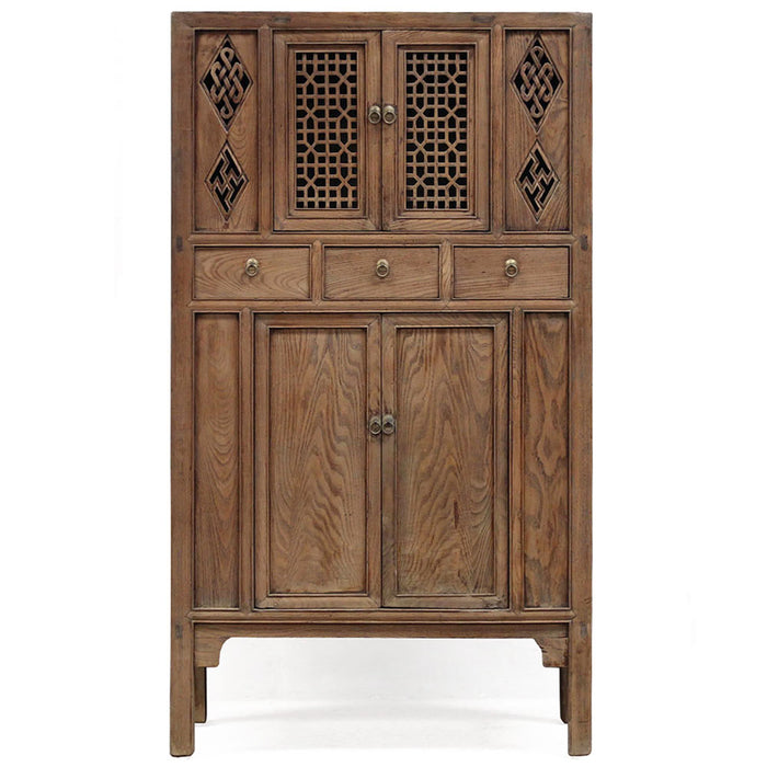 Chinese Antique Lattice Door Cabinet