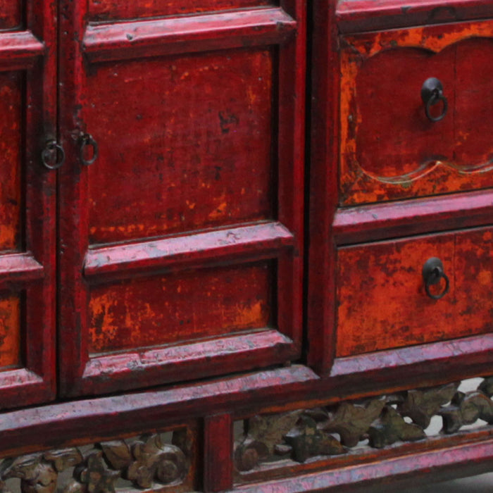 Chinese Antique Red Lacquer Sideboard with Carved Detail