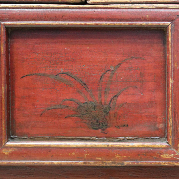 Red Lacquer Painted Shanxi Cabinet