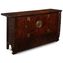 Gansu carved sideboard in red lacquer