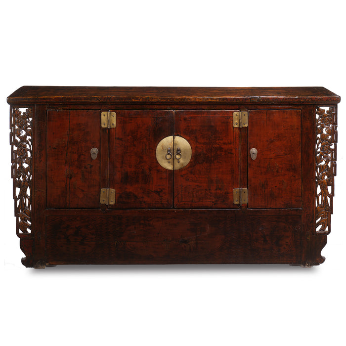 Chinese antique sideboard in red lacquer, Gansu