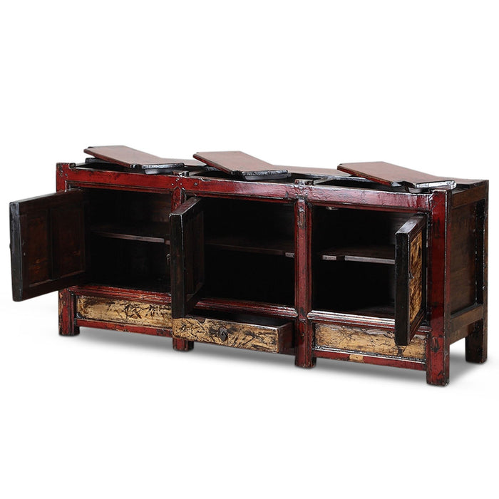 Chinese Antique Painted Red and Cream Sideboard