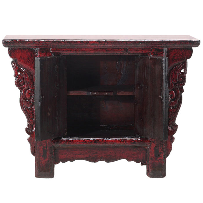 Small Red Lacquer Side Cabinet