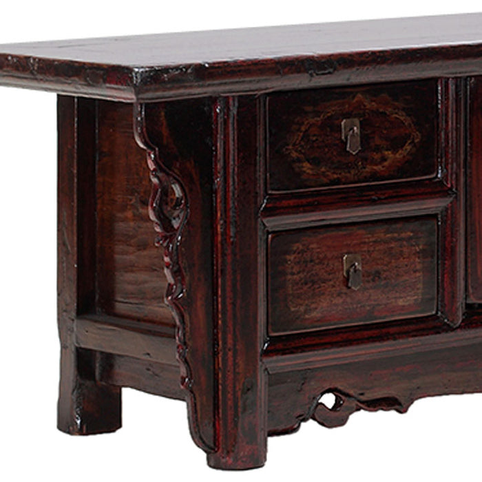 Carved Low Oriental Antique Sideboard
