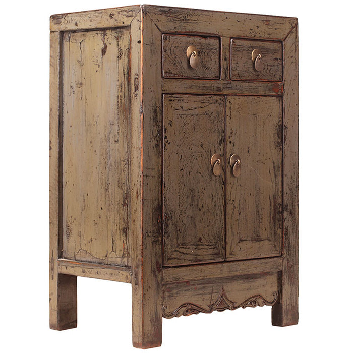 Distressed Grey Lacquer Side Cabinet