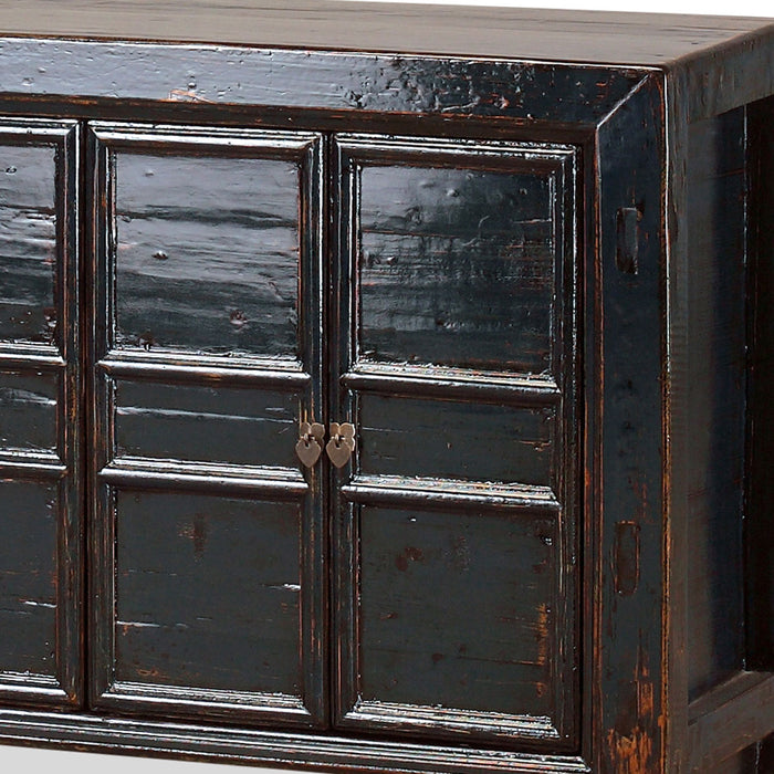 Dark Blue Chinese Panelled Sideboard