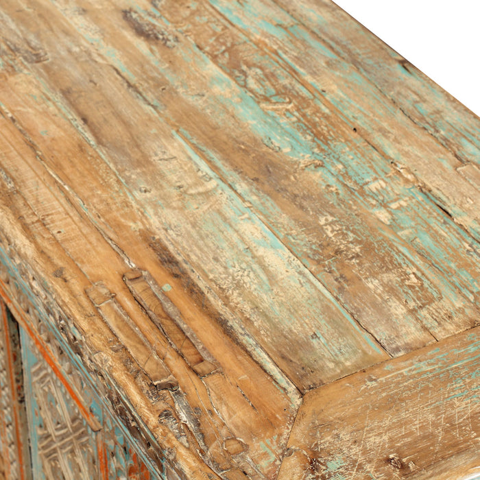 Xinjiang Low Pale Blue Carved Sideboard