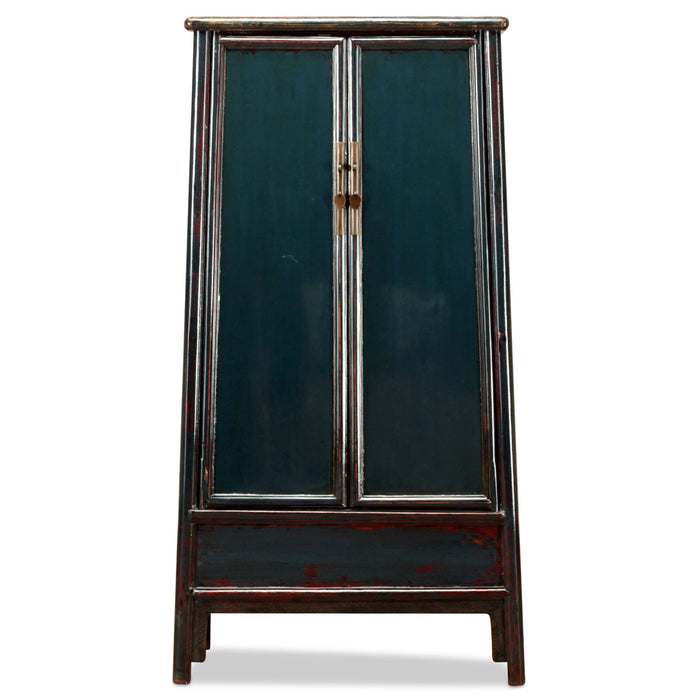 Teal Lacquer Tapered Chinese Armoire