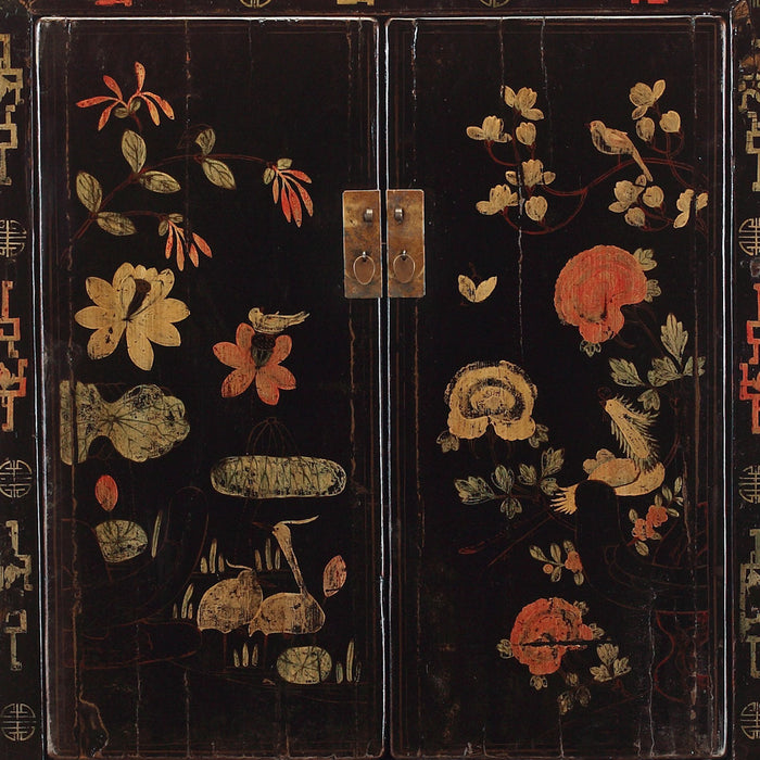 Chinese Antique Shanxi Black Painted Wedding Cabinet
