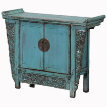 Blue Lacquer Chinese Coffer