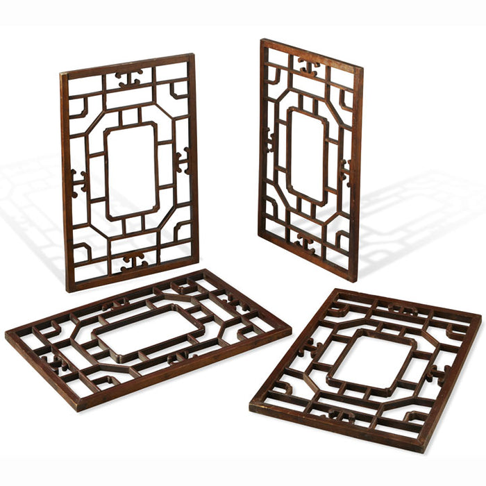 Set of Four Carved Chinese Window Panels