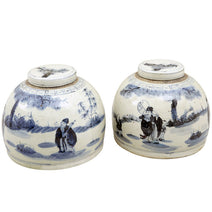 Blue and White Ginger Jar with Figures