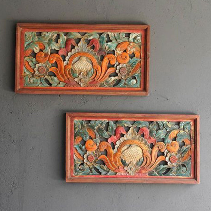Javanese Painted Carved Wooden Panel