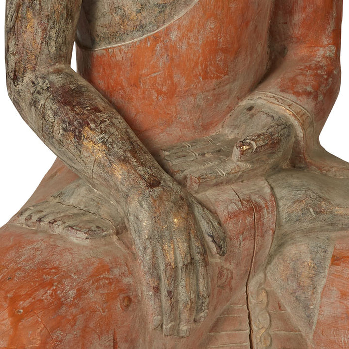 Large Seated Wooden Buddha Statue