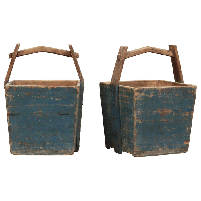 Blue Wooden Water Bucket