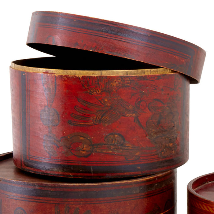Decorated Wooden Hat Box