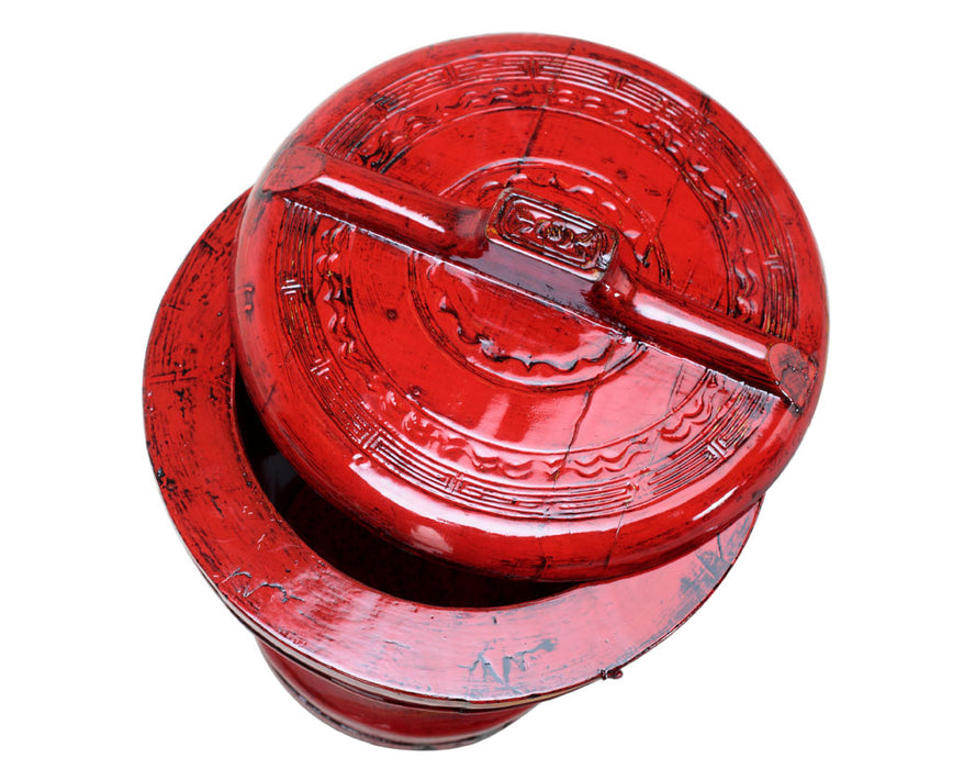 Red Lacquer Ornate Bucket
