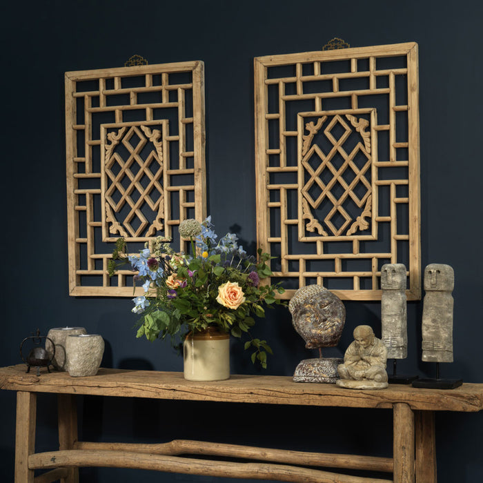 Pair of Natural Wood Chinese Window Panels