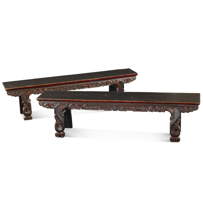 Pair of Chinese Antique Yunnan Carved Benches