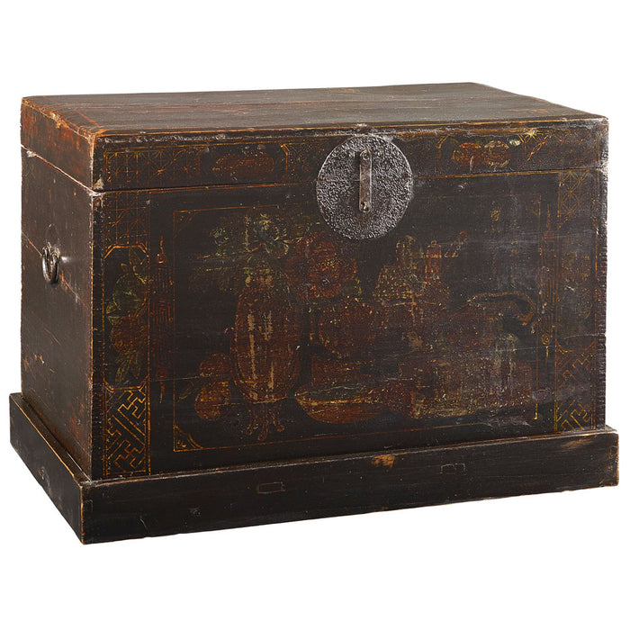 Painted Black Chinese Antique Blanket Chest