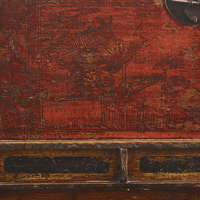 Red Lacquer Chinese Antique Blanket Box