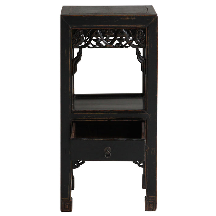 Black Lacquer Carved Tea Table