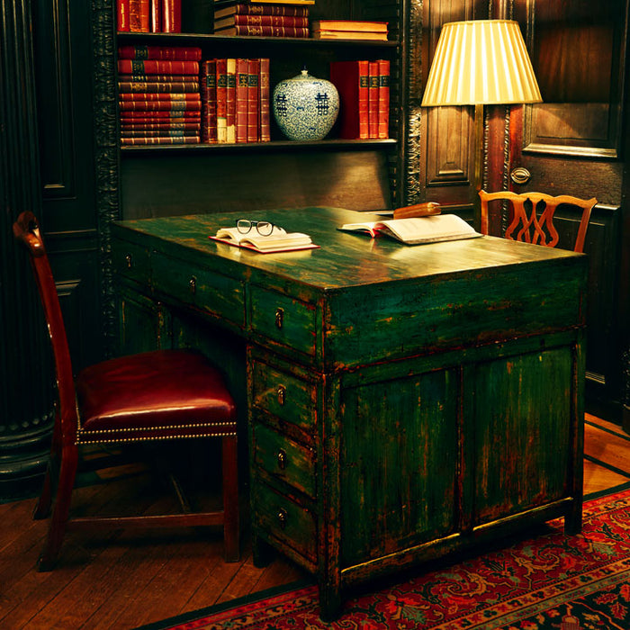 Teal Lacquer Partner's Desk
