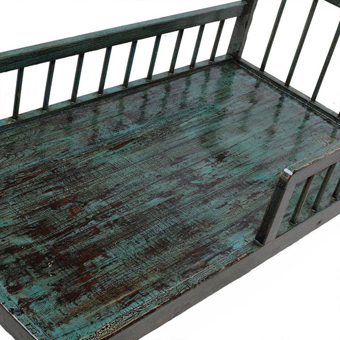 Blue Lacquer Chinese Daybed with Rails